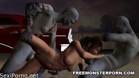 Зомби трахают девушку на улице. Порно мультик с зомби